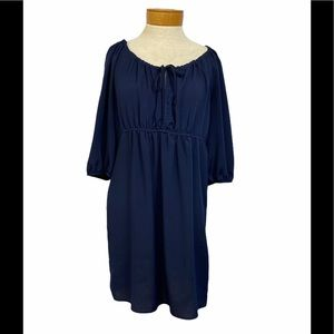 Glam Navy 3/4 Length Sleeve High Waisted Dress